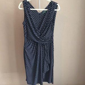 3/30 Ralph Lauren Navy Blue Polka Dot A Line Dress